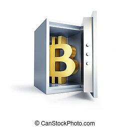 illustration, intérieur, sûr, bitcoin, rendre, fond, blanc, 3d