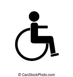 illustration., invalido, fondo., vettore, nero, bianco, icona