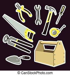 Illustration is a set of cartoon tools