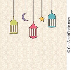Islamic Background with Arabic Hanging Lamps for Ramadan Kareem