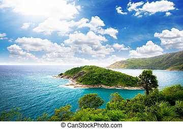 Laem Phrom Thep, Phuket - Illustration, Island view from ...