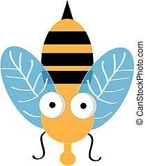 illustration., isolé, abeille, arrière-plan., vecteur, blanc