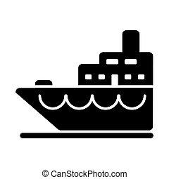 illustration., isolé, arrière-plan., vecteur, bateau, icône