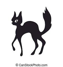 illustration, isolé, cat., vecteur, noir, white.