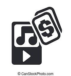 illustration, isolé, musique, icône, vecteur, achat, unique