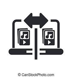 illustration, isolé, musique, icône, vecteur, partage, unique