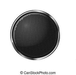 illustration., isolé, noir, vector., rond, speaker.