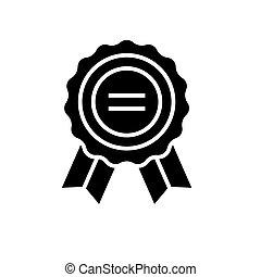 illustration, isolé, récompense, signe, vecteur, arrière-plan noir, icône