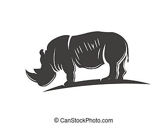 illustration., isolé, rhinocéros, vecteur, noir, silhouette.