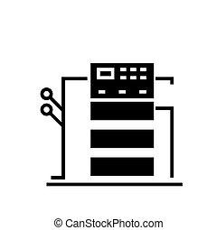 illustration, isolé, signe, machine, vecteur, arrière-plan noir, icône, copie