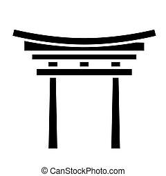 illustration, isolé, signe, vecteur, noir, shinto, fond, icône