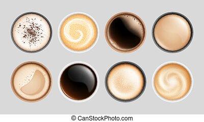 illustration, isolé, sommet, lait, latte, mousse, vecteur, cup., grandes tasses, vue, chaud, express, beverages., boissons, petit déjeuner, cappuccino, café, réaliste