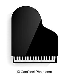 illustration., isolado, shadow., realístico, vetorial, pretas, grandioso, keyboard., piano, ícone