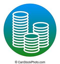 illustration., isolated., お金, 印, バックグラウンド。, vector., 白, 薄青い, 円, アイコン