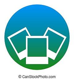 illustration., isolated., 写真, 印, バックグラウンド。, vector., 白, 薄青い, 円, アイコン