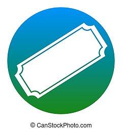 illustration., isolated., 白, 印, バックグラウンド。, vector., 円, 薄青い, 切符, アイコン