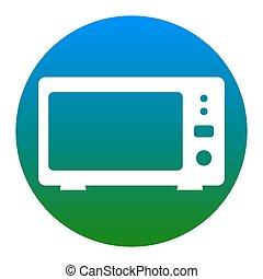 illustration., isolated., 電子レンジ, 印, バックグラウンド。, vector., 白, 薄青い, 円, アイコン
