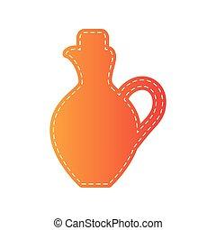 illustration., isolated., amfora, znak, applique, pomarańcza