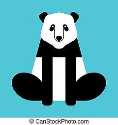illustration., isolated., bär, vektor, porzellan, tier, wild, panda