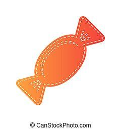 illustration., isolated., caramella, segno, applique, arancia