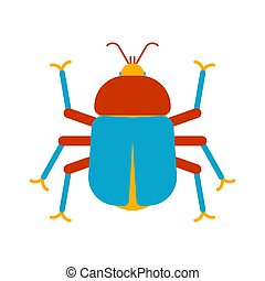 illustration., isolated., caricatura, experiência., inseto, vetorial, besouro, branca, erro