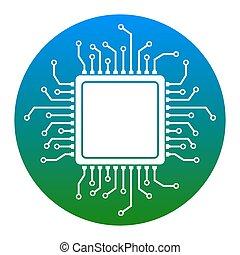 illustration., isolated., cpu, 薄青い, バックグラウンド。, マイクロプロセッサ, 円, アイコン, 白, vector.