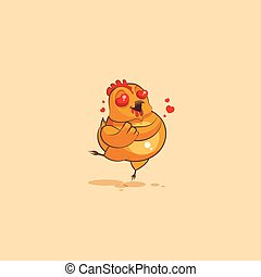 Emoji character cartoon Hen in love flying with hearts -...