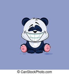 Illustration isolated Emoji character cartoon Panda with a huge smile from ear sticker emoticon