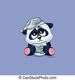 Illustration isolated Emoji character cartoon sleepy Panda in nightcap with pillow sticker emoticon