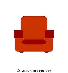 illustration., isolated., fauteuil, tapissé, vecteur, rouges, meubles