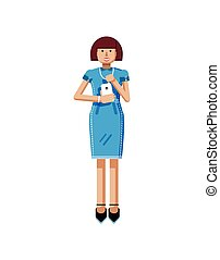 illustration isolated of European middle-aged woman, brown hair, blue dress, touche screen, girl with smartphone in hand
