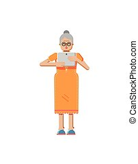 illustration isolated of European retiree, elderly woman, white hair, glasses, with laptop