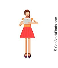 illustration isolated of European girl with brown hair in red flared skirt, blouse, touch screen, laptop