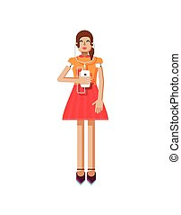 illustration isolated of European girl with brown hair in red flared skirt