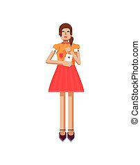 illustration isolated of European girl with brown hair in red flared skirt, blouse, touch screen, smartphone in hand