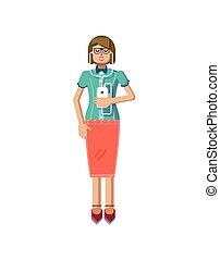 illustration isolated of European light brown hair woman, in glasses, girl with skirt, blouse, smartphone