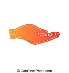 illustration., isolated., ręka, applique, pomarańcza, znak