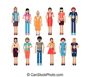 illustration isolated set of European, African-American women with smartphone in hands
