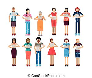 illustration isolated set of European, African-American women with laptop