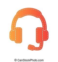 illustration., isolated., soutien, signe, applique, orange