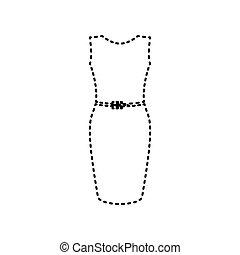 illustration., isolated., tracejado, sinal, experiência., pretas, vector., vestido branco, ícone