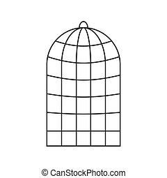 illustration., isolated., vettore, trappola, gabbia, uccelli, parrots.