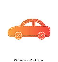 illustration., isolated., wóz, znak, applique, pomarańcza