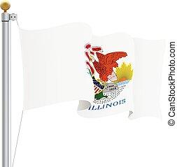 illustration., isolato, illinois, ondeggiare, fondo., bandiera, vettore, bianco
