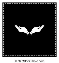 illustration., isoler, main, arrière-plan., noir, blanc, pièce, signe
