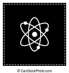 illustration., isoler, pièce, arrière-plan., noir, atome, blanc, signe
