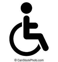 illustration, isolerat, ikon, vektor, handikapp, singel
