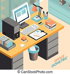 illustration, isométrique, bureau, conception, salle, concept