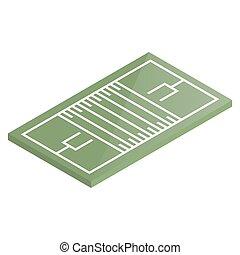 illustration., isométrique, football, vecteur, cour de récréation, icône