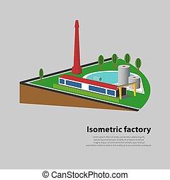 illustration, isométrique, usine, vecteur